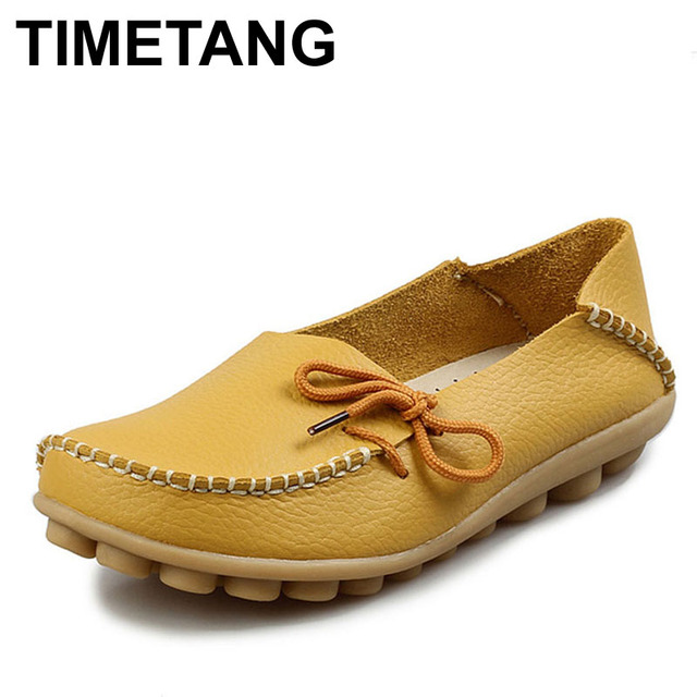 TIMETANG Free shipping Women Genuine Leather Mother Shoes Moccasins Women's Soft Leisure Flats Female Driving Shoes Flat Loafer