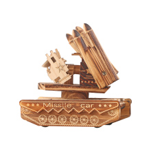 Home Decoration Woody Tank Missile Figurines Model Desktop Decor Wood  Hand Crank Carousel Music Boxes