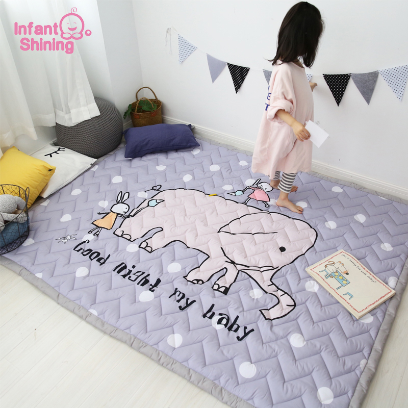 Infantile brillant 140X200 CM 55X78IN tapis de jeu 3 CM épaississement coton tapis éléphant motif bande dessinée couverture Machine lavable tapis