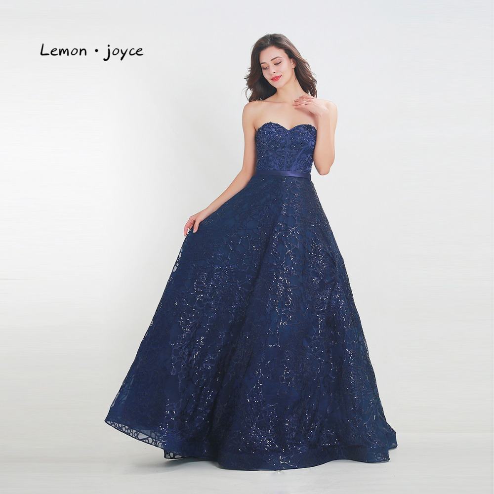 Lemon joyce Formal Evening Dresses Long 2019 Sexy Sweetheart Lace A line Floor Length Party Dress