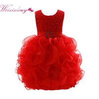 QH 2017 Fashion Sleeveless Kid Lace Dresses Baby Toddler Girl Dress Clothes Flower Wedding Party Pageant