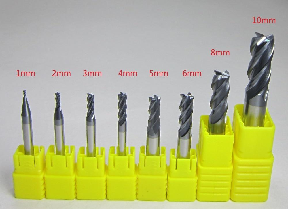 4PCS Ø 4mm 6mm 8mm 10mm HRC55 Carbide Ball Nose End Mills bit milling cutter set