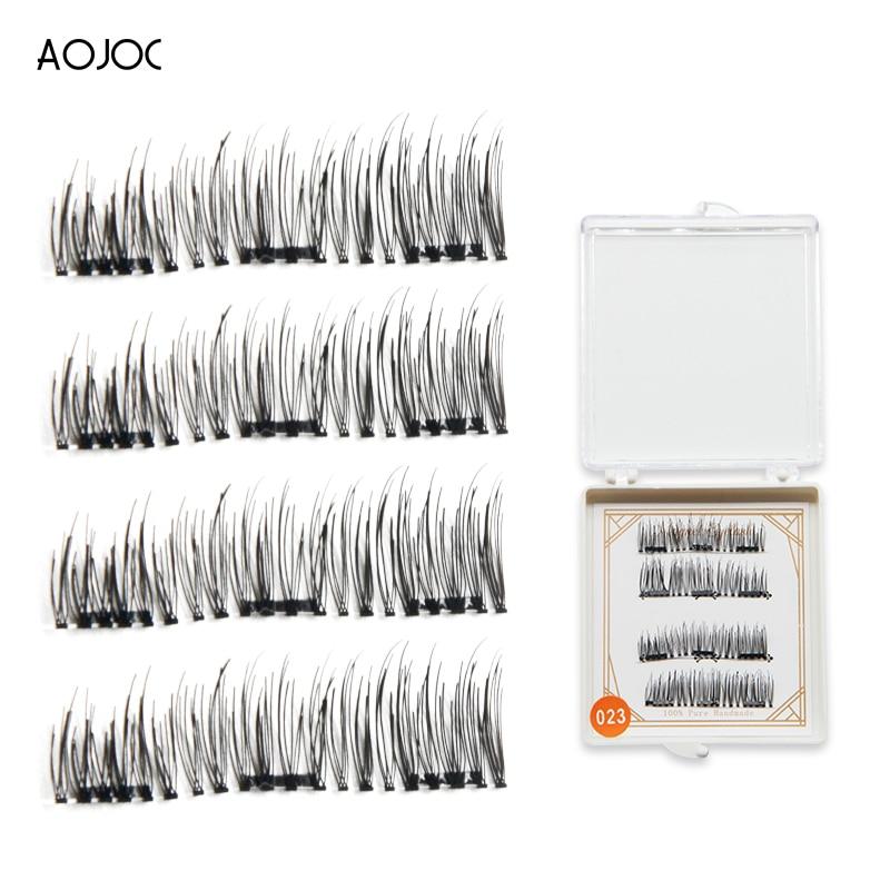 2018 New 4Pcs 3D 3 Magnetic False Eyelashes Natural Beauty Full Strip Magnet Hair Extension Fake Eye Lashes Make Up sets New Hot