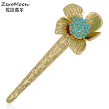 ФОТО classic metal flower brooch women garment bead fashion jewelry male suit accessory