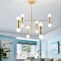 Rectangular pendant chandelier Living room Bedroom Kitchen lounge lighting E27 Pipe Decor golden chandelier lamp Fixtures