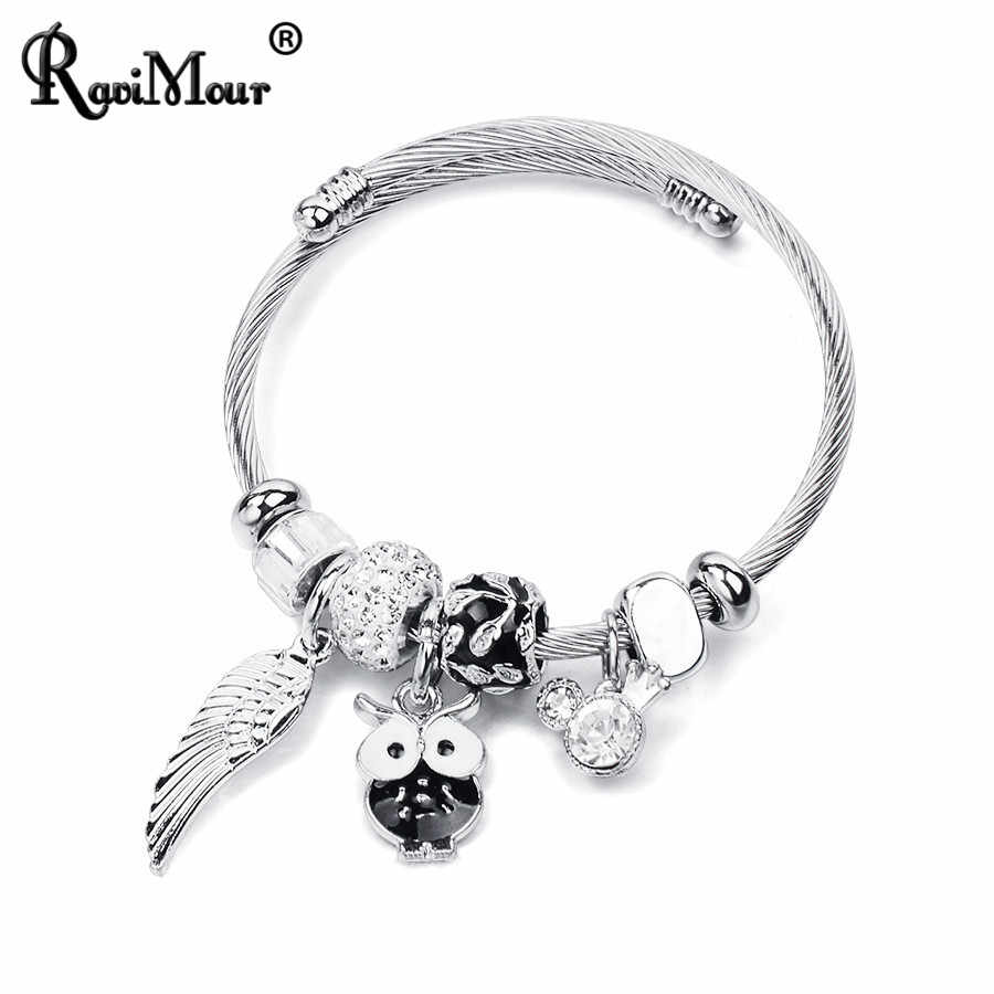 RAVIMOUR Stainless Steel Bangles for Women Jewelry Ethinic Animal Owl Feather Charm Bracelets Femme Fashion DIY Accessories 2018
