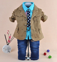 New 2014 Baby Boy High Quality Fashion Gentlemen Clothing Sets 3pcs Kids Clothes Sets Boy Handsome