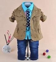New 2014 Baby Boy High Quality Fashion Gentlemen Clothing Sets 3pcs Kids Clothes Sets Boy Handsome