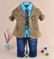 clearance new 2015 baby boy high quality fashion gentlemen clothing sets 3pcs kids clothes sets boy handsome coat set boy