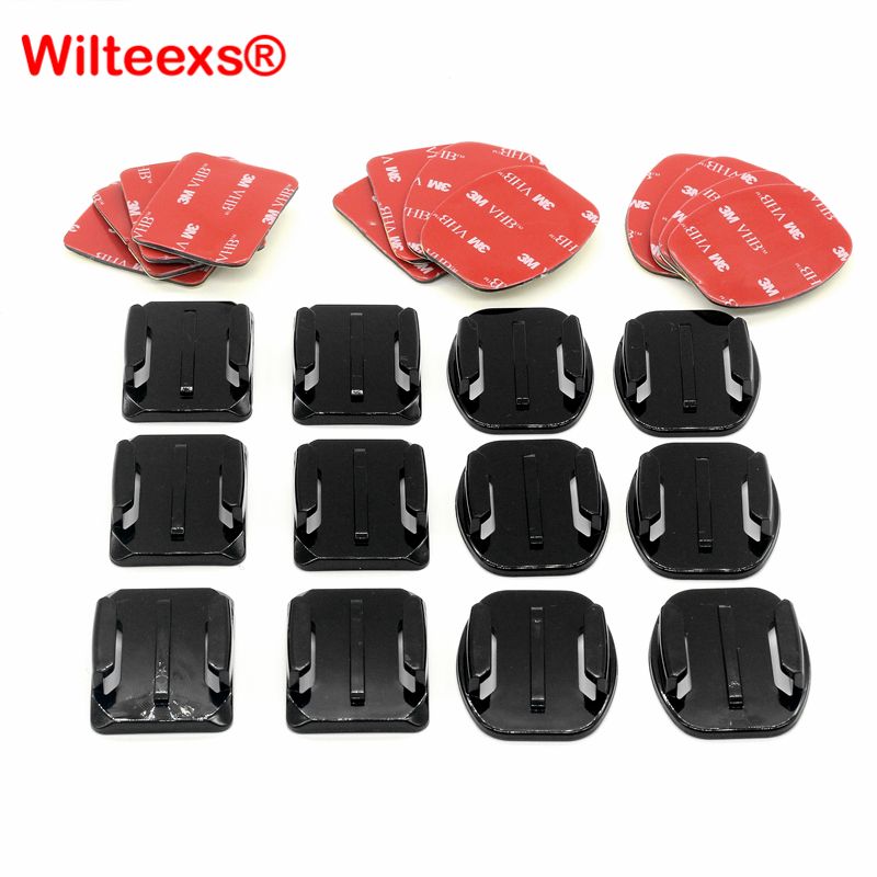 WILTEEX 12pcs/set Helmet Accessories 6pcs Curved+6pcs Flat Adhesive Mounts+3M Sticker For Hero5 4 3+3 2 xiaoyi Action цена