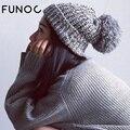 FUNOC Mulheres Outono Chapéus de Inverno Gorros Skullies Gorros de Tricô Cap Chapéu de Crochê Ouvido Grosso Quente Casual Cap Chapeu Feminino
