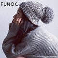 FUNOC Women Autumn Winter Hats Beanies Knitting Cap Crochet Hat Ear Thick Warm Skullies Beanies Casual Cap Chapeu Feminino