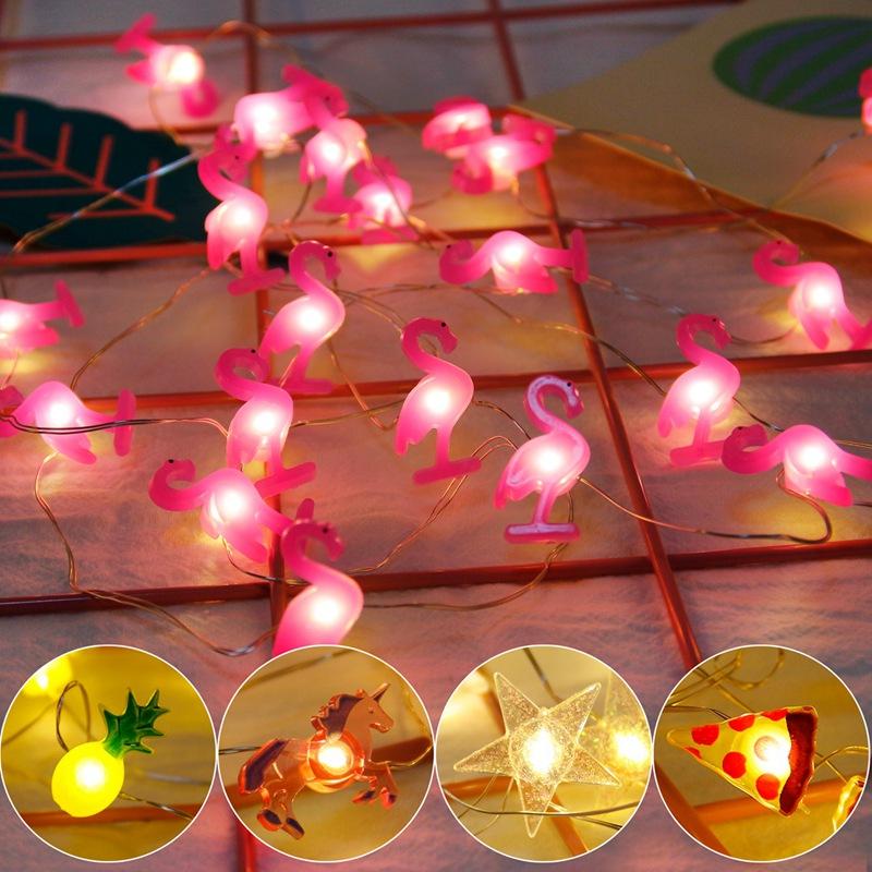 2M LED Flamingo String Light Unicorn Decoration 20 Lights Hawaiian Party Baby Shower Wedding Bedroom Party DIY Decoration Lights