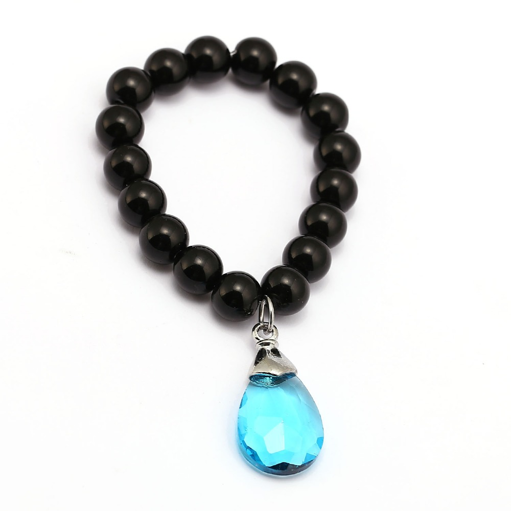 Anime Sword Art Online Yui's Heart Blue Crystal SAO Bracelet Natural Black Onyx Beads Bracelet Men Women Bangle