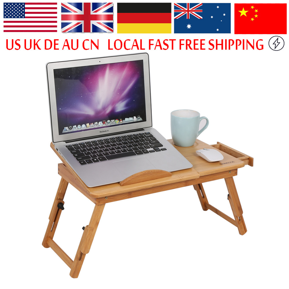 Laptop bed table tray - Adjustable Computer Desk Portable Bamboo Laptop Folding Table Foldable Laptop Stand Desk Computer Notebook Bed Table