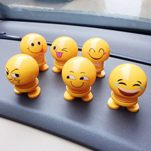 1pcs set Car Ornaments Smiley Shaking Head Dolls Cute Cartoon Funny Emoji Wobble Robot Lovely Dashboard Decor Auto