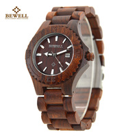 Wooden Watch With Sunglasses Design Red Dial Quartz Wristwatch Wood Strap Available Wood Watches For Groomsmen