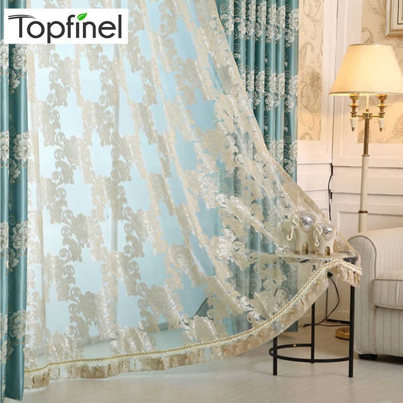 Topfinel Luxury Europe Jacquard Blackout Curtains for  Living Room the Bedroom curtains Window Treatments Shades Drapes Blinds