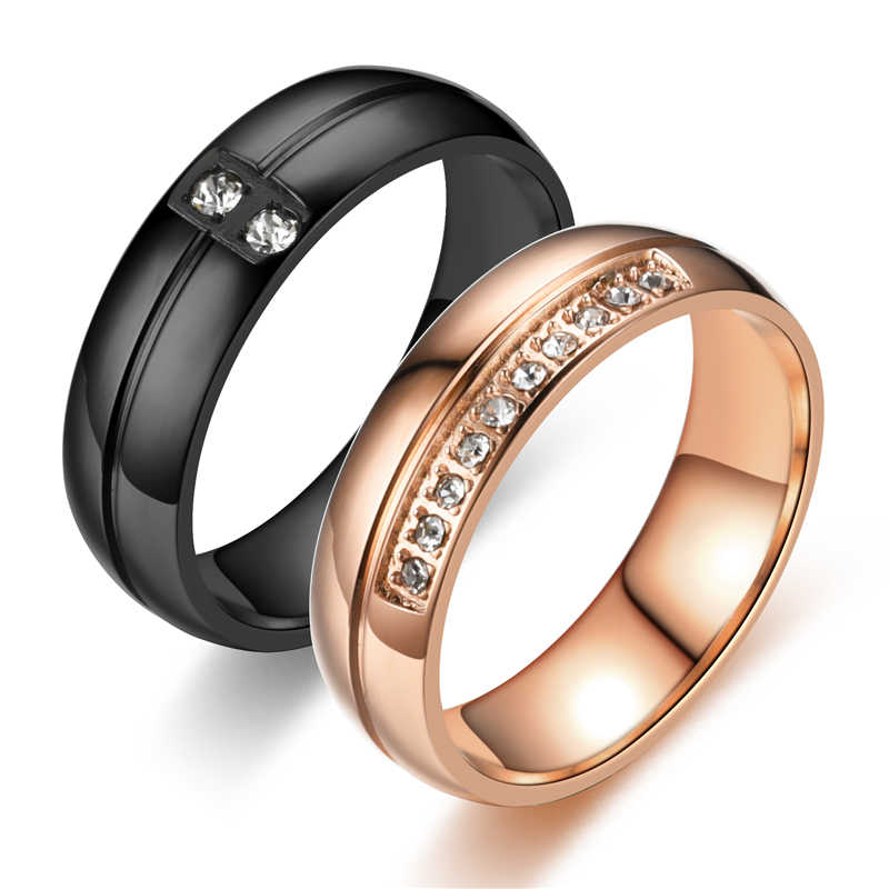 Gepersonaliseerde romantische paar wedding ring gold rvs paar wedding ring engagement party sieraden bruiloft ring