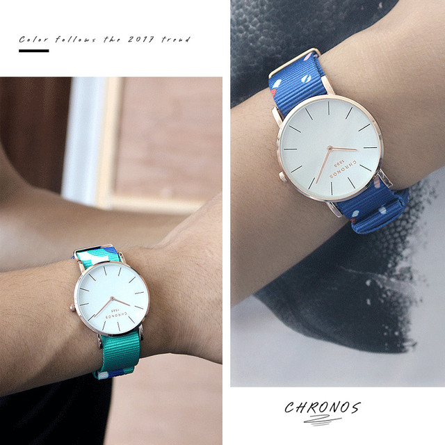 2017 Men Women Watches Top Brand Luxury CHRONOS Quartz Watch Nylon Rose Gold Clock Relojes Mujer Montre Femme Horloge