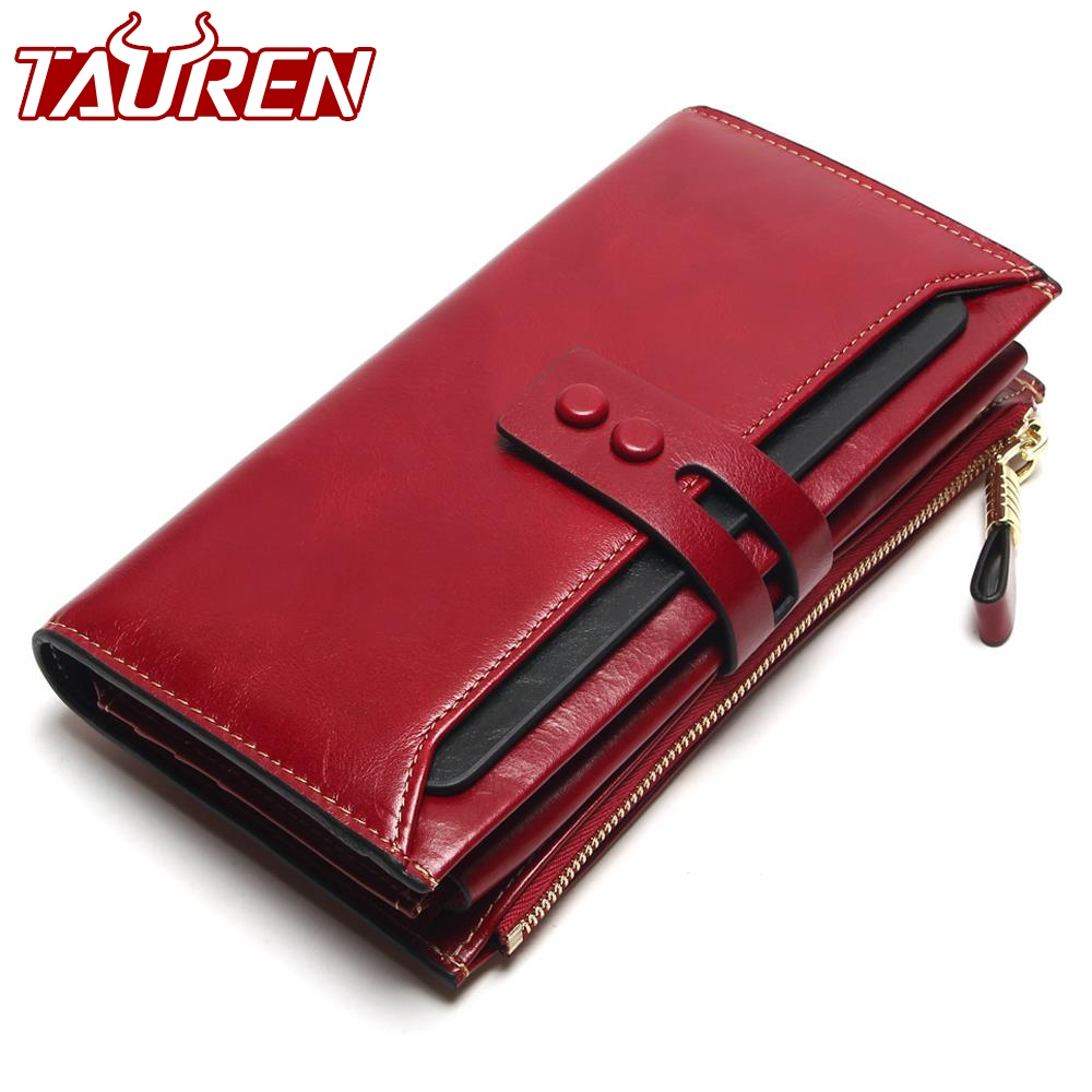 Tauren 2018 New Women Wallets Genuine Leather High Quality Long Design Clutch Cowhide Wallet High Quality
