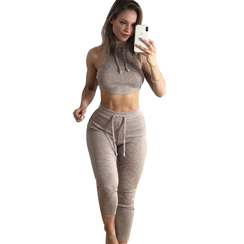 2019 New spiricle Femme Bodysuit Sexy Fitness Stretch Women High Waist Leggings Crop Top Vest Pants Casual Set Suit 1