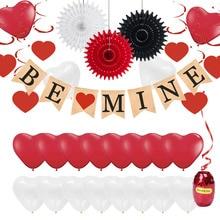 цена на Happy Valentines Day Party Decorations Heart Hanging Swirls Latex Balloons Linen BE MINE Banner Balloon Ribbon Wedding Decor