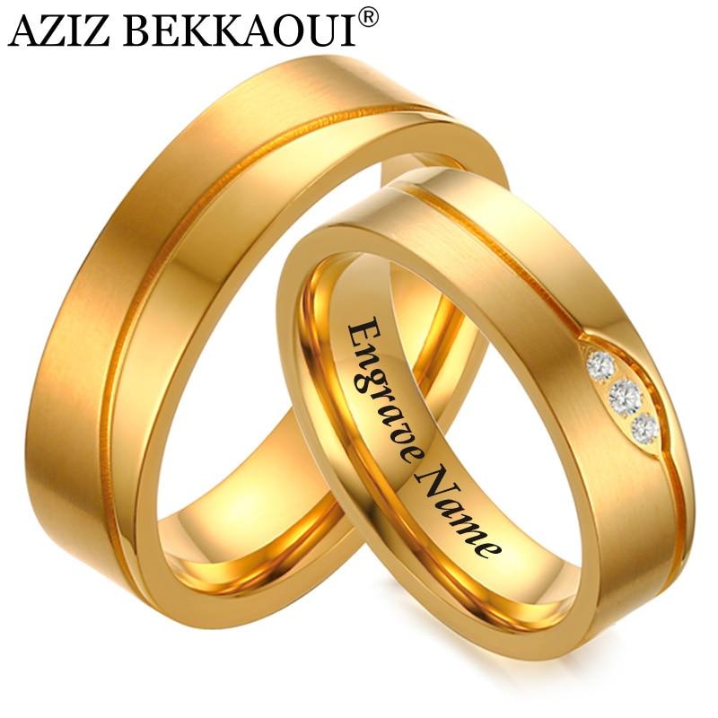 Wedding-Rings Stainless-Steel Anniversary-Ring Stones Couple Name Women for Aziz-Bekkaoui