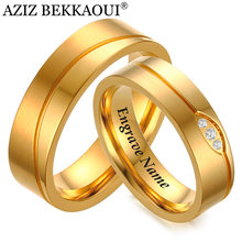 AZIZ BEKKAOUI AAA CZ Stones Personalize Name Wedding Rings for Women Men Stainless Steel Couple Anniversary Ring Dropshipping(China)