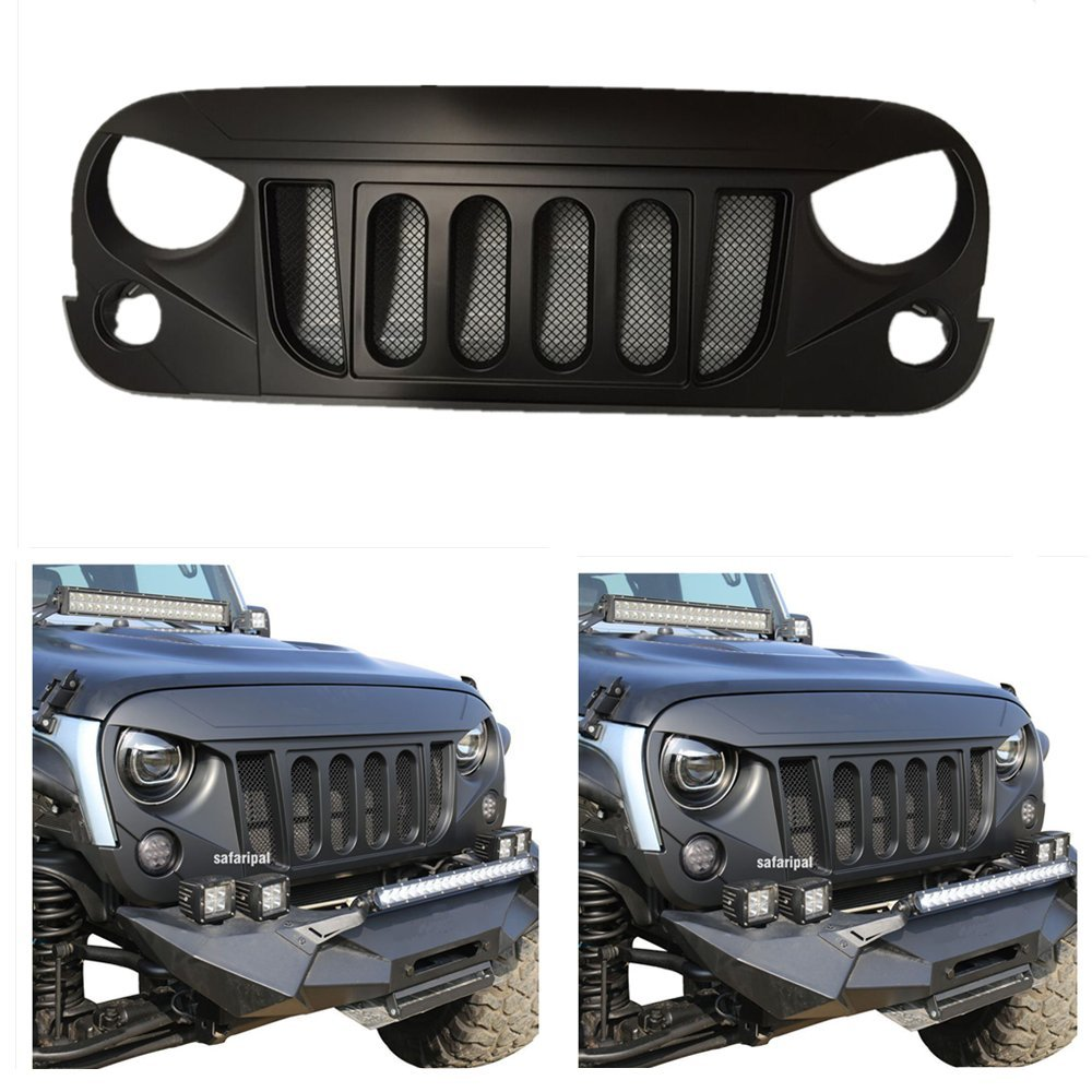 Car Accessories Front Matte BlackTransformer Grille Grid Grill With Mesh Insert for jeep wrangler 2007-2017 Lantsun