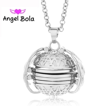 22mm Photo Box Necklace Lucky Angel Wings Image Cage for Gift Pendant Long Chain Necklace Lover Gifts NL081 Free Shipping