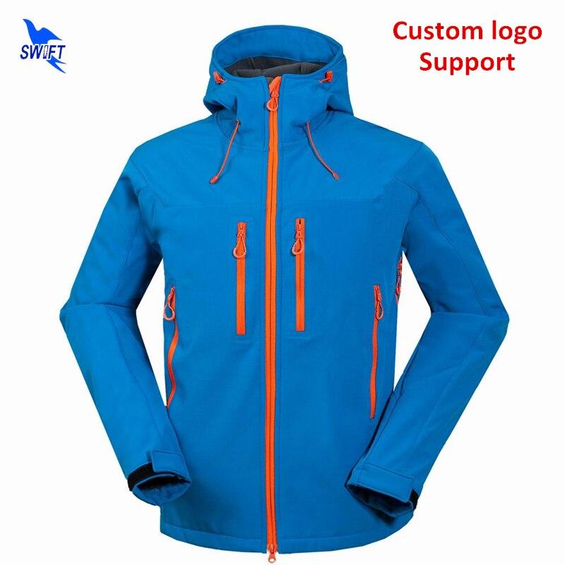 2019 Custom Waterproof Hiking Clothing Thermal Fleece Softshell Jacket Men Hoodie Windproof Ski Climbing Hunting Fishing