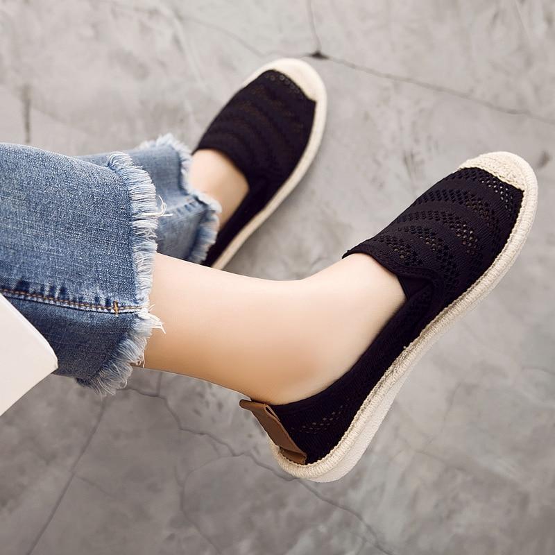 Printemps Zapatos Mocassins Sur Respirant Plates Mujer Noir Casual De blanc Découpes Chaussures Glissement Femmes Ballerines D'été 7XwCqq