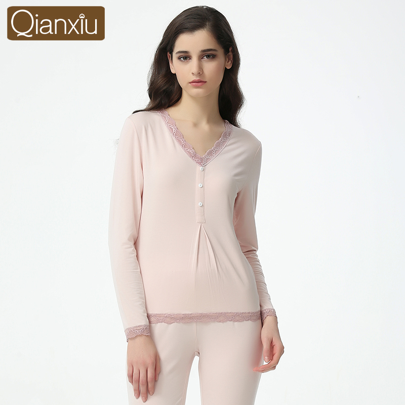Spring Plus Size Homewear Ladies Soft Modal Pajama Sets Women V-Neck Collar T Shirt + Pants Female Sexy Lace Sleepwear Suit