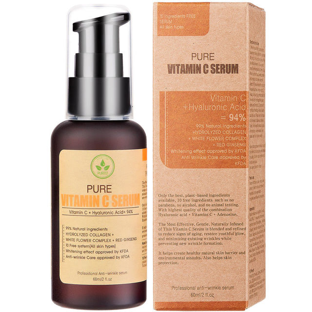 best korea cosmetics purito pure vitamin c serum 60ml face cream anti wrinkle serum acne pimples. Black Bedroom Furniture Sets. Home Design Ideas