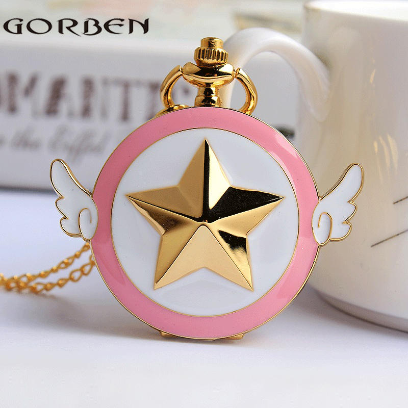 Anime Cardcaptor Sakura Pocket Watch Necklace Women Vintage Japan Quartz Fob Clock Chain Pendant Children Cute Gift Girl Kid unique smooth case pocket watch mechanical automatic watches with pendant chain necklace men women gift relogio de bolso