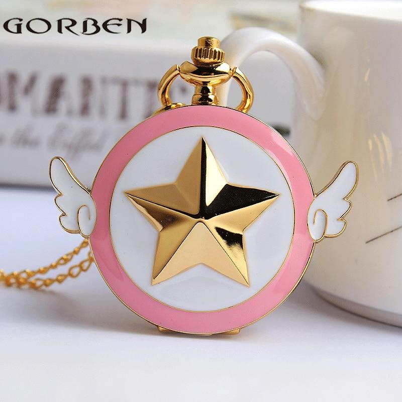 Japan Anime Cardcaptor Sakura Pocket Watch Necklace Women Vintage Quartz Fob Clock Chain Pendant Children Cute Gift Girl Kid