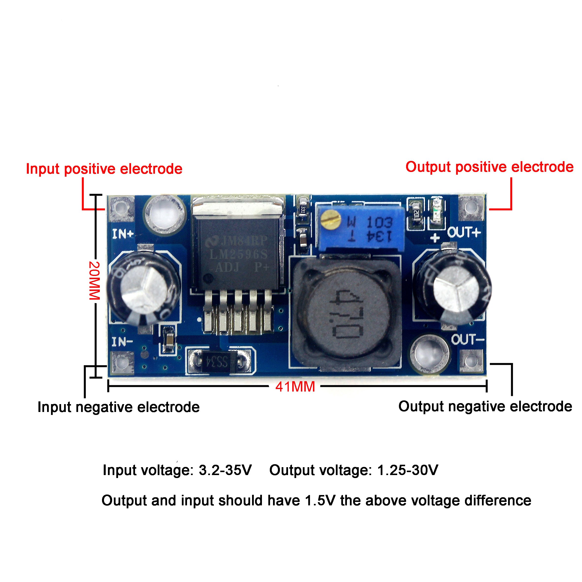 Smart Electronics <font><b>LM2596</b></font> LM2596S ADJ DC-DC Step-down Module 5V/<font><b>12V</b></font>/24V Adjustable Voltage Regulator 3A(Blue) image