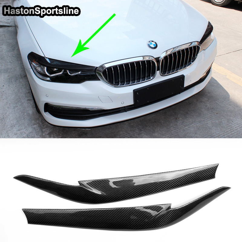 5 Series G30 Carbon Fiber Front Lamp Eyelids Eyebrows Cover Trim For BMW 530i 540i G30 2017 2018 carbon fiber front fog light cover for bmw e46