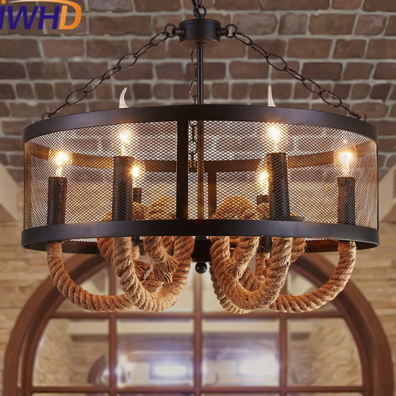 IWHD Iron Style Loft Industrial Pendant Lamp LED 6 Heads Vintage Retro Pendant Lights Restaurant Hemp Rope Suspension Luminaire american retro pendant lights luminaire lamp iron industrial vintage led pendant lighting fixtures bar loft restaurant e27 black