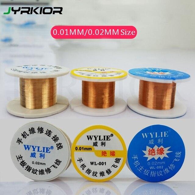 Jyrkior Super fino línea de mosca alambre de cobre para iPhone placa lógica placa base de soldadura por puntos herramientas de reparación de huellas dactilares
