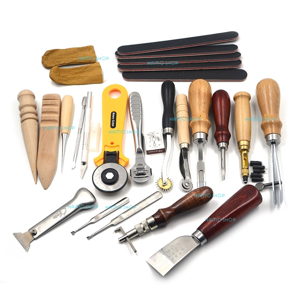 Leather Tools 20pcs Hand Tools for Leathercraft Set Costura Kit Punch Stitching Sewing DIY Stamp Gift
