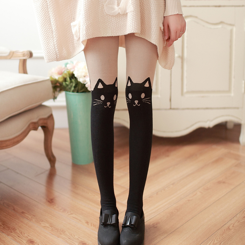 2018 Newly Styles Women Tights Harajuku Woman Pantyhose Stocking Sexy Personality lovely Stitching Knee Boots cotton Tights