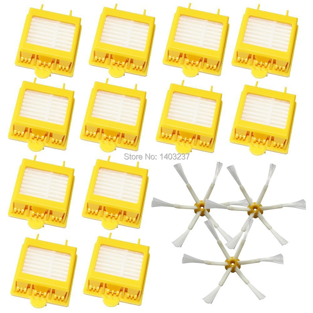 3Pcs  6-Armed Side Brushes+ 12pcs HEPA Filters for iRobot Roomba 700 Series 760 770 780 790 Vacuum Cleaning Accessroy 3 armed side brush 6 armed side brush 6 hepa filters for irobot roomba 700 series 760 770 780 790 vacuum cleaning robots