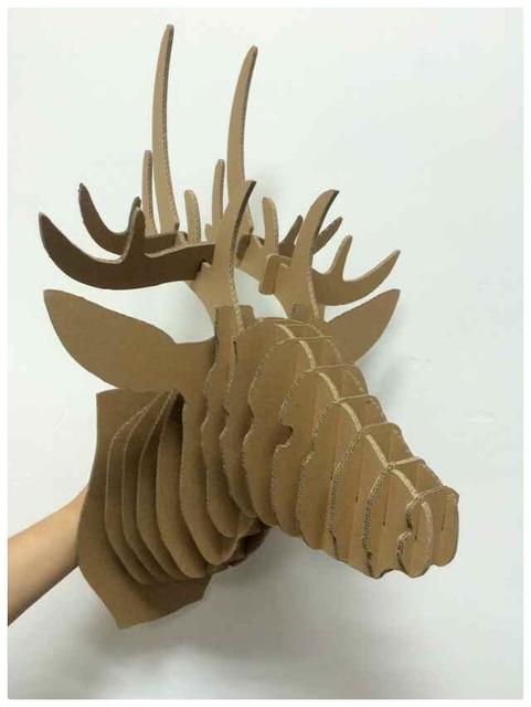 Great 3d Decorative Deer Head Diy Cardboard Sculpture Paper Deer Head Decoration Deer Puzzle