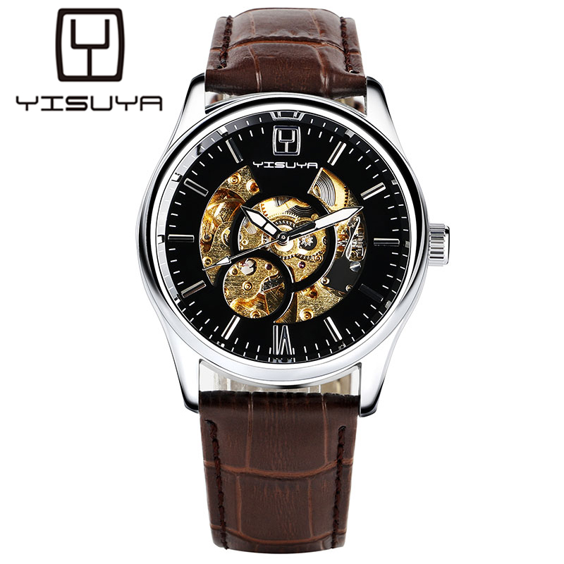 цены YISUYA Casual Fashion Men Self-Wind Mechanical Watch Skeleton Dial Design Brown Leather Band Cool Sport Male Watch Best Gift