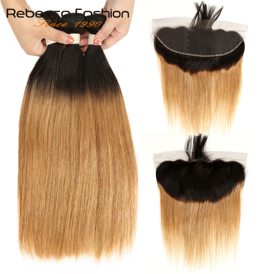 Rebecca Ombre Bundles With Frontal Two Tone 1B/99J 1B/27 1B/30 Brazilian Straight Hair 3 4 Bundles With Lace Frontal Closure