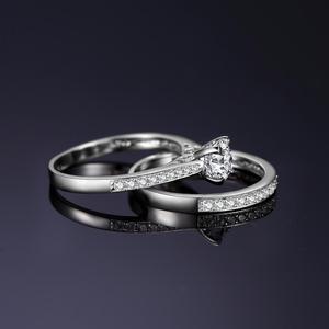 Image 3 - JPalace CZ zestaw pierścionków zaręczynowych 925 srebro pierścionki dla kobiet rocznica obrączki obrączki zestawy ślubne srebro 925 biżuteria