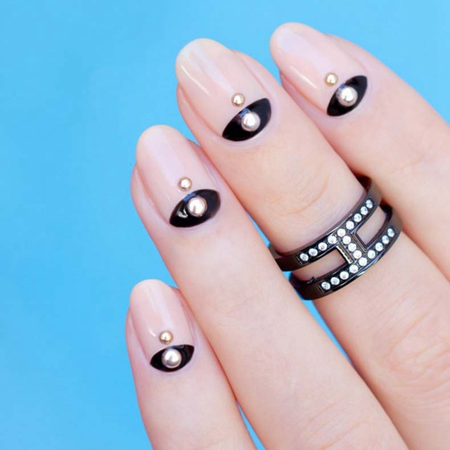 Simple Elegant Fall Nail Designs: Elegant Half Moon French Nail Art Design Golden Dots Style