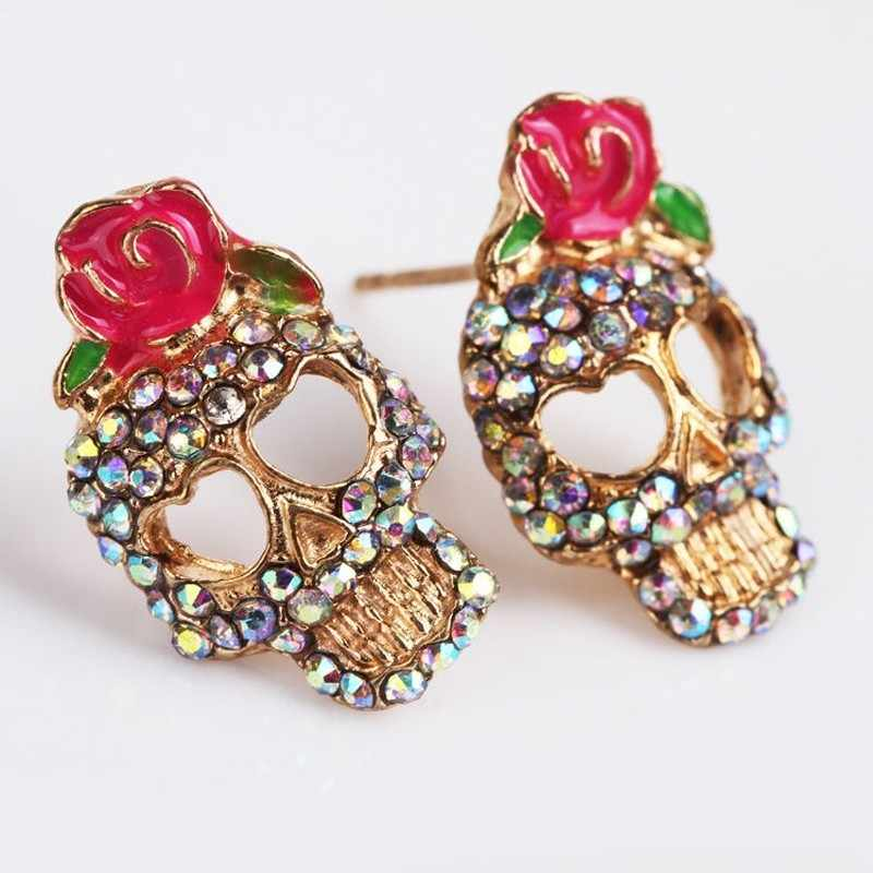 Cute Pink Rose earrings 2019 women Rhinestone Skeleton Skull type Ear Studs Earrings for lady Jewelry  aretes de mujer